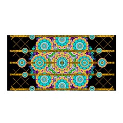 Gold Silver And Bloom Mandala Satin Wrap by pepitasart