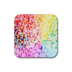 Colorful Colors Digital Pattern Rubber Square Coaster (4 Pack)  by Simbadda
