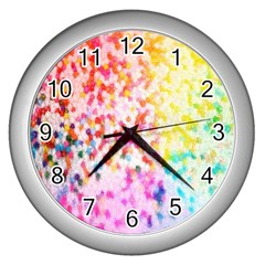 Colorful Colors Digital Pattern Wall Clocks (silver)  by Simbadda
