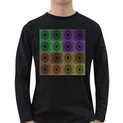 Creative Digital Pattern Computer Graphic Long Sleeve Dark T Shirts