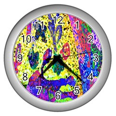 Grunge Abstract Yellow Hand Grunge Effect Layered Images Of Texture And Pattern In Yellow White Black Wall Clocks (silver)  by Simbadda