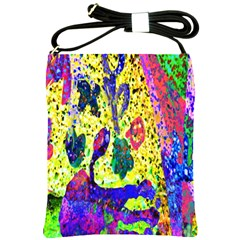 Grunge Abstract Yellow Hand Grunge Effect Layered Images Of Texture And Pattern In Yellow White Black Shoulder Sling Bags by Simbadda