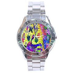 Grunge Abstract Yellow Hand Grunge Effect Layered Images Of Texture And Pattern In Yellow White Black Stainless Steel Analogue Watch by Simbadda
