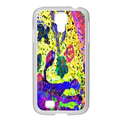 Grunge Abstract Yellow Hand Grunge Effect Layered Images Of Texture And Pattern In Yellow White Black Samsung Galaxy S4 I9500/ I9505 Case (white)