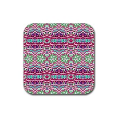 Colorful Seamless Background With Floral Elements Rubber Square Coaster (4 Pack)  by Simbadda