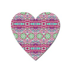 Colorful Seamless Background With Floral Elements Heart Magnet by Simbadda