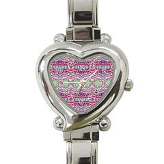 Colorful Seamless Background With Floral Elements Heart Italian Charm Watch by Simbadda