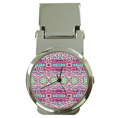 Colorful Seamless Background With Floral Elements Money Clip Watches by Simbadda