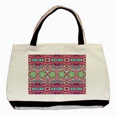 Colorful Seamless Background With Floral Elements Basic Tote Bag by Simbadda