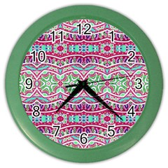 Colorful Seamless Background With Floral Elements Color Wall Clocks by Simbadda