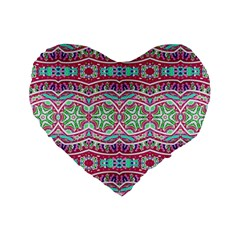 Colorful Seamless Background With Floral Elements Standard 16  Premium Flano Heart Shape Cushions by Simbadda