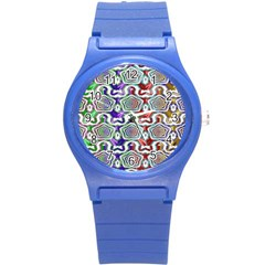 Digital Patterned Ornament Computer Graphic Round Plastic Sport Watch (s) by Simbadda