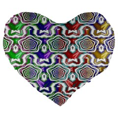 Digital Patterned Ornament Computer Graphic Large 19  Premium Heart Shape Cushions by Simbadda