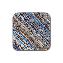 Fractal Waves Background Wallpaper Pattern Rubber Coaster (square)  by Simbadda