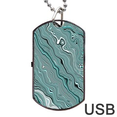 Fractal Waves Background Wallpaper Dog Tag Usb Flash (one Side) by Simbadda