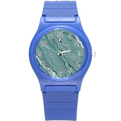 Fractal Waves Background Wallpaper Round Plastic Sport Watch (s) by Simbadda