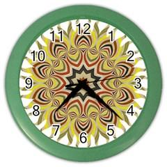 Abstract Geometric Seamless Ol Ckaleidoscope Pattern Color Wall Clocks by Simbadda
