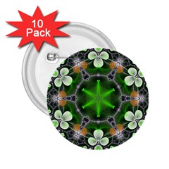 Green Flower In Kaleidoscope 2 25  Buttons (10 Pack)  by Simbadda