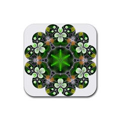 Green Flower In Kaleidoscope Rubber Square Coaster (4 Pack)  by Simbadda