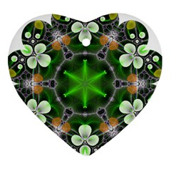 Green Flower In Kaleidoscope Heart Ornament (two Sides) by Simbadda
