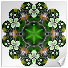 Green Flower In Kaleidoscope Canvas 16  X 16   by Simbadda