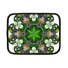 Green Flower In Kaleidoscope Netbook Case (small)  by Simbadda