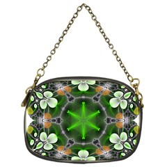 Green Flower In Kaleidoscope Chain Purses (one Side)  by Simbadda