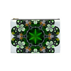 Green Flower In Kaleidoscope Cosmetic Bag (medium)  by Simbadda