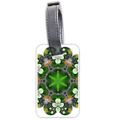 Green Flower In Kaleidoscope Luggage Tags (two Sides) by Simbadda