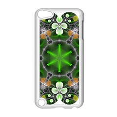 Green Flower In Kaleidoscope Apple Ipod Touch 5 Case (white) by Simbadda