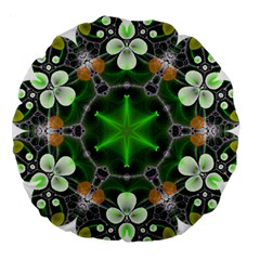 Green Flower In Kaleidoscope Large 18  Premium Round Cushions by Simbadda