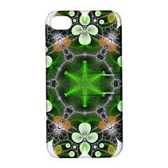 Green Flower In Kaleidoscope Apple Iphone 4/4s Hardshell Case With Stand by Simbadda