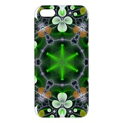 Green Flower In Kaleidoscope Apple Iphone 5 Premium Hardshell Case by Simbadda