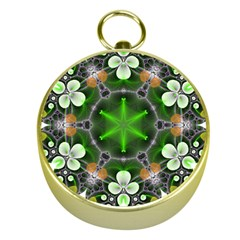 Green Flower In Kaleidoscope Gold Compasses by Simbadda