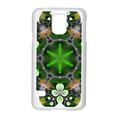 Green Flower In Kaleidoscope Samsung Galaxy S5 Case (white) by Simbadda