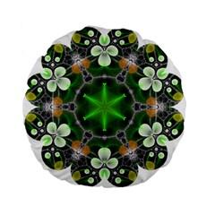 Green Flower In Kaleidoscope Standard 15  Premium Flano Round Cushions by Simbadda