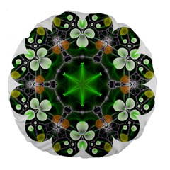 Green Flower In Kaleidoscope Large 18  Premium Flano Round Cushions by Simbadda