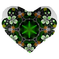 Green Flower In Kaleidoscope Large 19  Premium Flano Heart Shape Cushions by Simbadda