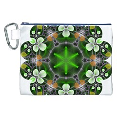Green Flower In Kaleidoscope Canvas Cosmetic Bag (xxl) by Simbadda