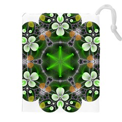 Green Flower In Kaleidoscope Drawstring Pouches (xxl) by Simbadda