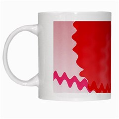 Red Fractal Wavy Heart White Mugs by Simbadda