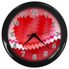 Red Fractal Wavy Heart Wall Clocks (black) by Simbadda