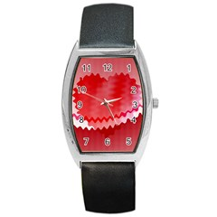 Red Fractal Wavy Heart Barrel Style Metal Watch by Simbadda