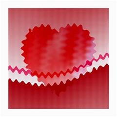 Red Fractal Wavy Heart Medium Glasses Cloth (2 Side) by Simbadda