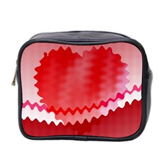 Red Fractal Wavy Heart Mini Toiletries Bag 2 Side by Simbadda