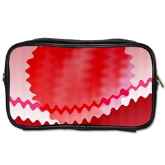 Red Fractal Wavy Heart Toiletries Bags 2 Side by Simbadda