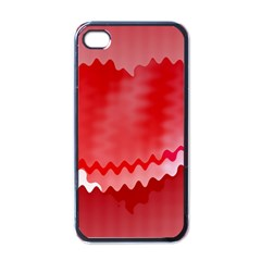 Red Fractal Wavy Heart Apple Iphone 4 Case (black) by Simbadda