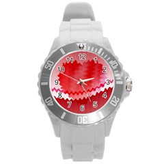 Red Fractal Wavy Heart Round Plastic Sport Watch (l) by Simbadda