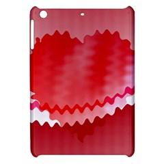 Red Fractal Wavy Heart Apple Ipad Mini Hardshell Case by Simbadda