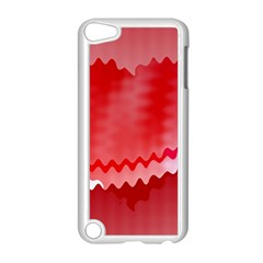 Red Fractal Wavy Heart Apple Ipod Touch 5 Case (white) by Simbadda